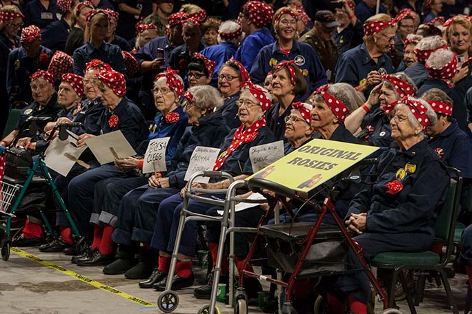Largest gathering of people dressed as Rosie the Riveter original Rosies
