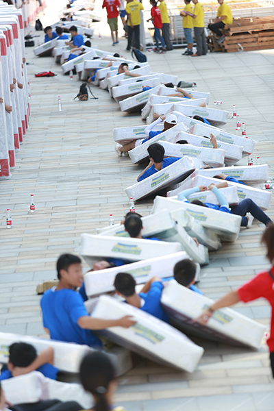 Largest human mattress dominoes portrait
