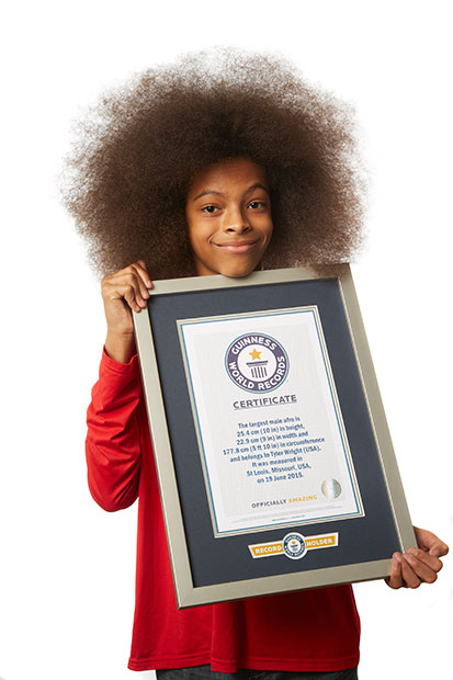 Largest male Afro GWR certificate