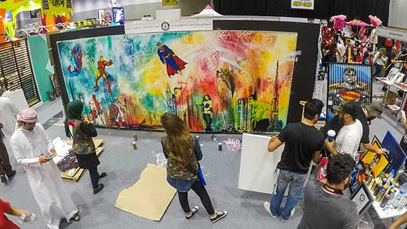 UAE artists create spectacular record-breaking stencil image at Middle East Film and Comic Con