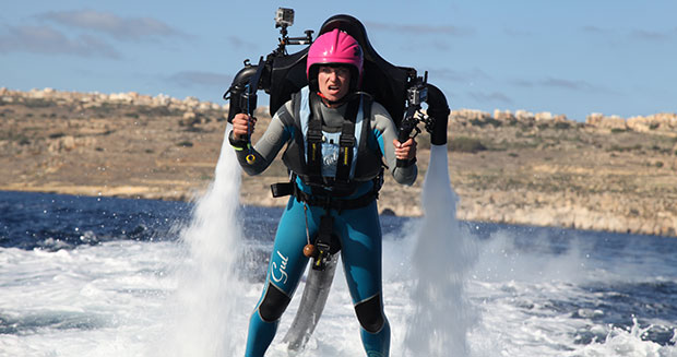 Longest journey by a water jet pack