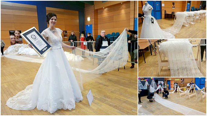 Longest wedding dress train