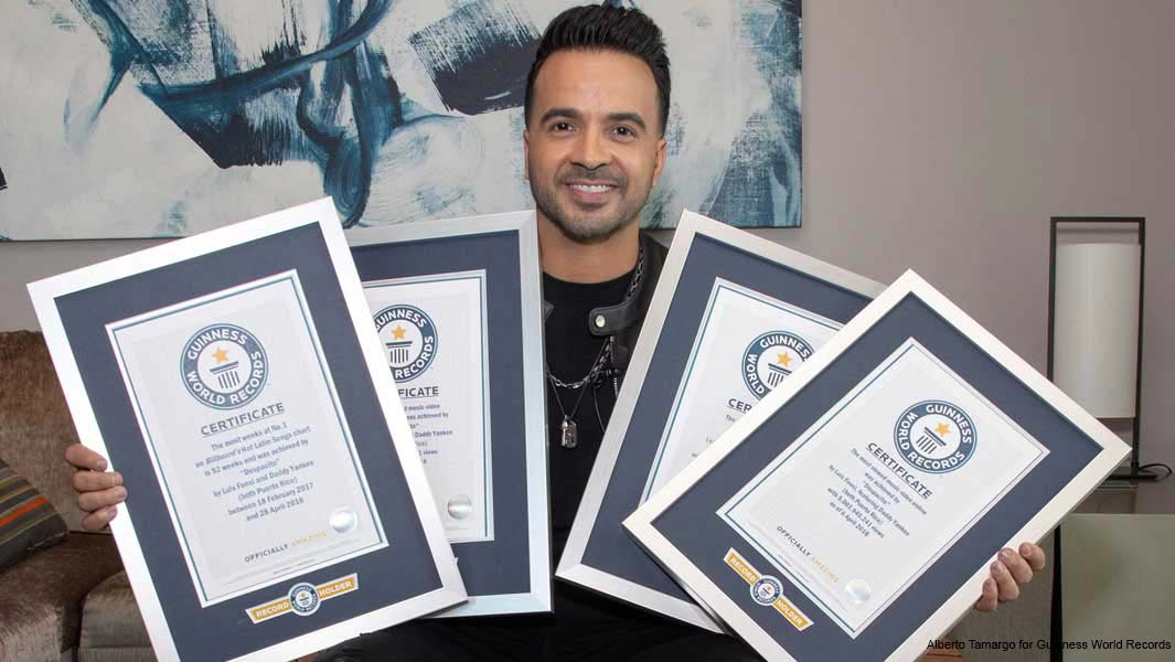 Luis Fonsi receives seven Guinness World Records titles for global chart-topper Despacito