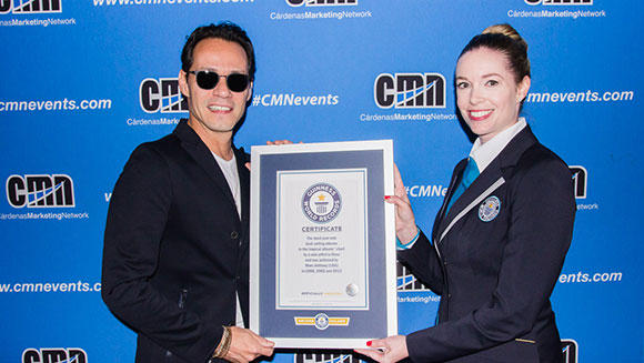 Guinness World Records honors Marc Anthony with Tropical album charts title