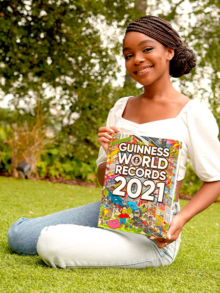 Marsai Martin youngest Hollywood executive producer smiling with Guinness World Records 2021