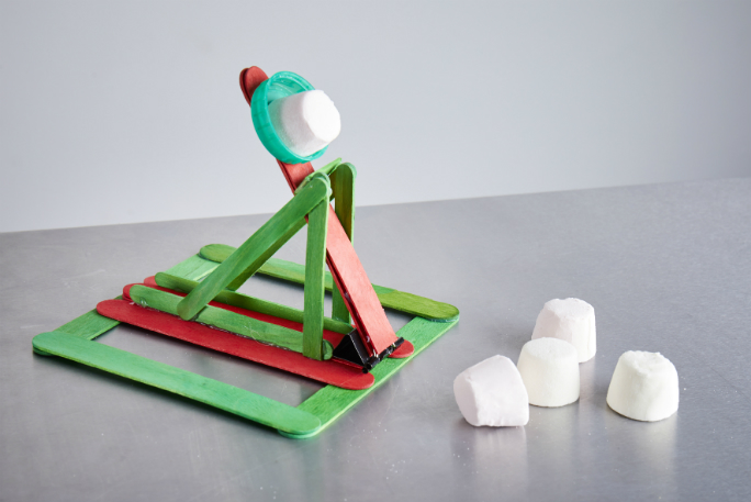 Most marshmallows caught in the mouth with a homemade catapult in one minute 2