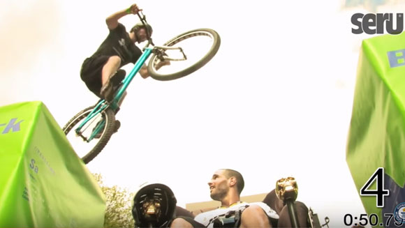 Video Classics: Pro mountain bike athlete smashes bicycle jumping record