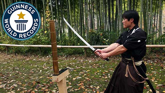 Video: Japanese martial arts master attempts katana world record