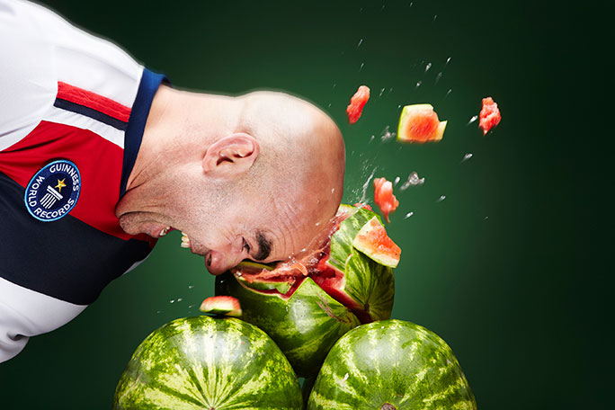 Most watermelons crushed with the head in one minute