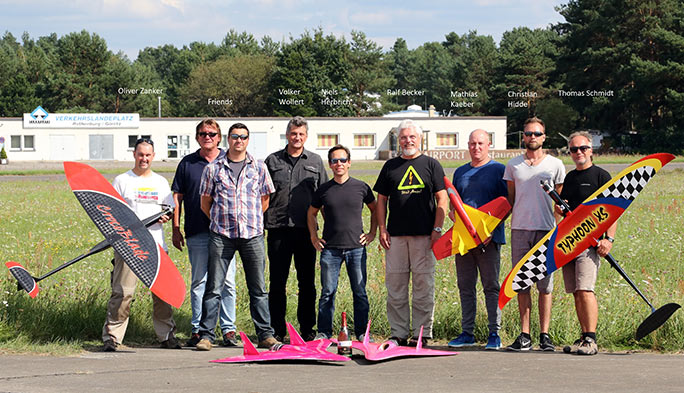 Niels (fourth from left) and friends at the model airplane racing event
