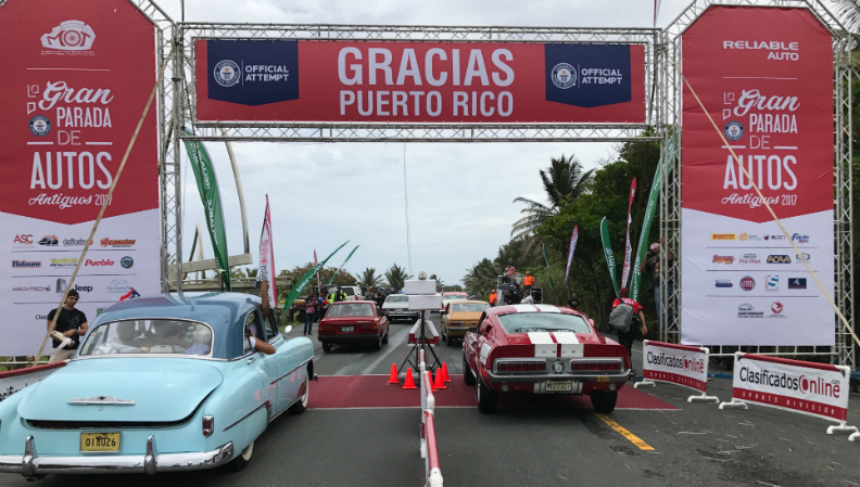Puerto Rico rolls out a new record with the Largest parade of classic cars