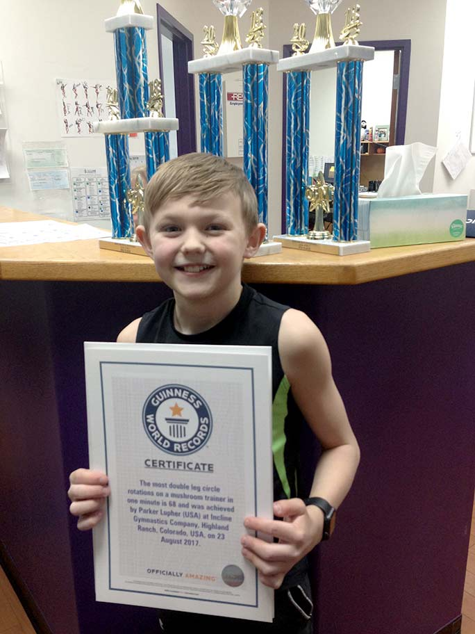 Parker with his certificate