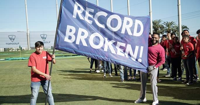 Record holder banner after attempt