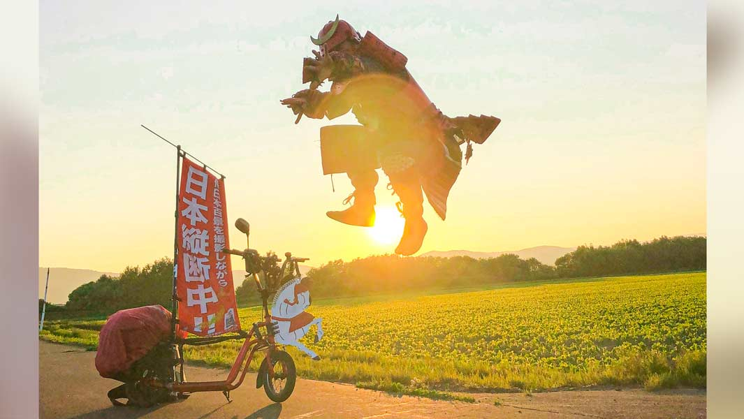Riding the length of Japan on a scooter: why a red samurai has embarked on an 8,000-km journey