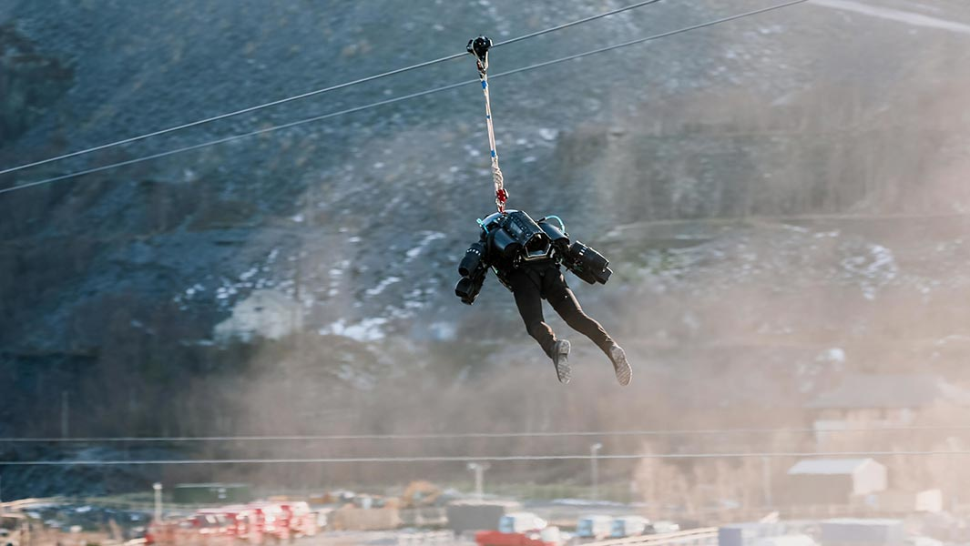 Video: Creator of 'real life Iron Man' jet engine suit tests high-speed zip wire running