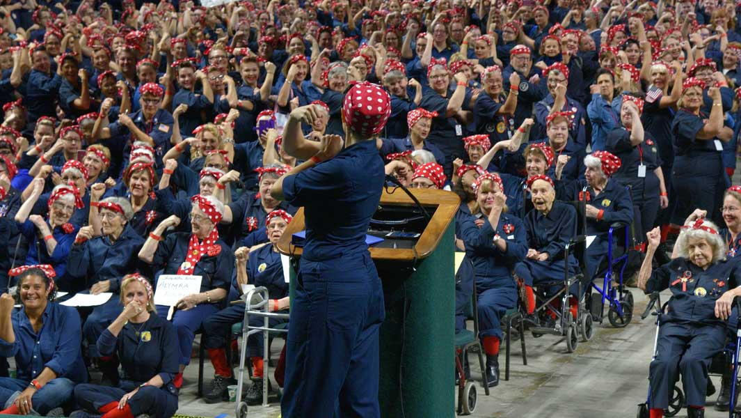 The record attempt for the Largest gathering of people dressed as Rosie the Riveter