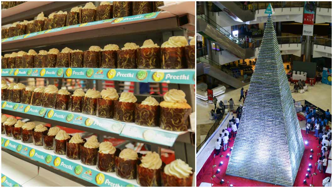 Split image showing the tallest tower of cupcakes and a close up of the cupcakes