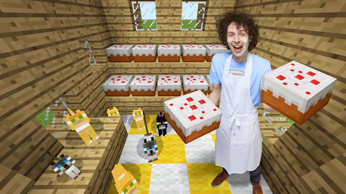 Stampy Cat fastest time to make and display 10 cakes in Minecraft
