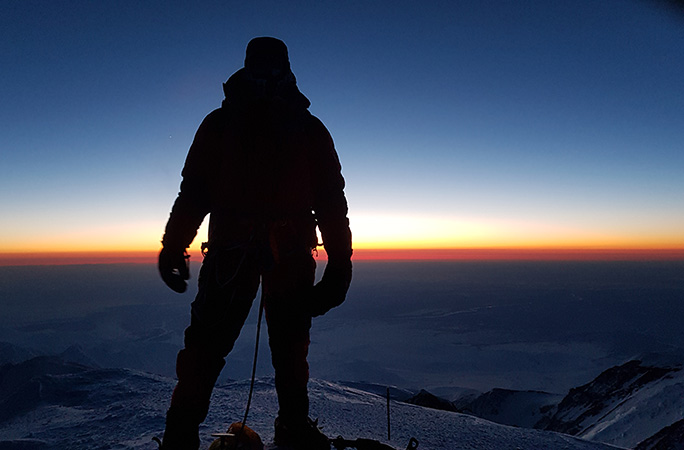 Steven on the summit of Mount Denali