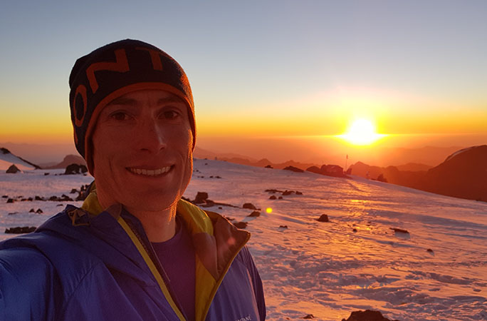 Selfie at sunset at camp nido,Mount Aconcagua