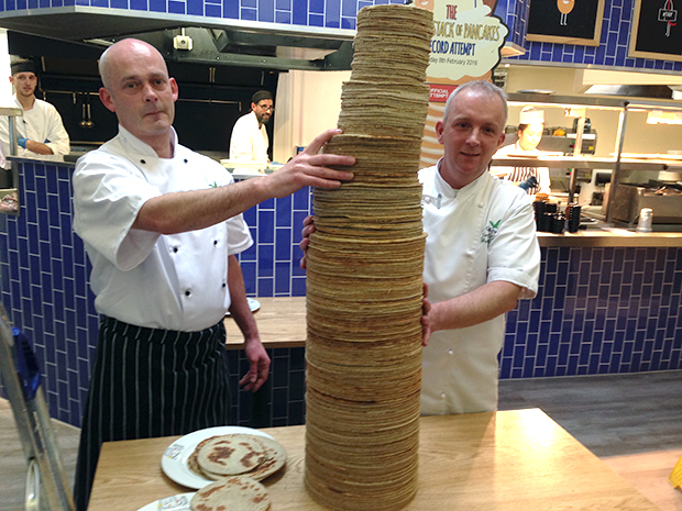 Tallest stack of pancakes finished