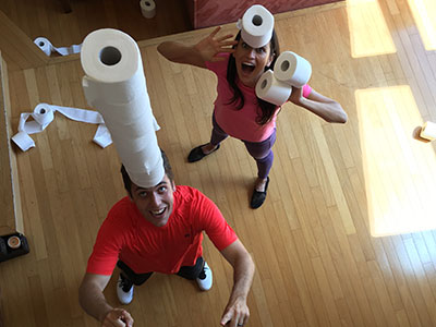 Speed stacking toilet rolls