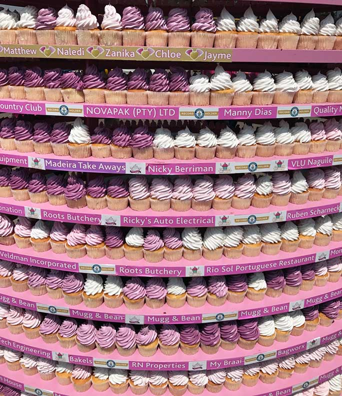 Tallest tower of cupcakes close up