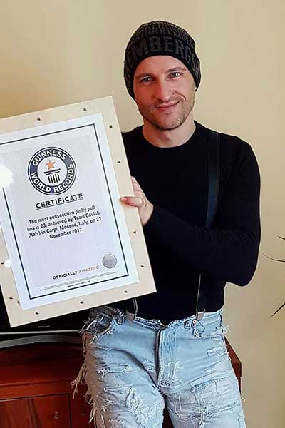Tazio with his Guinness World Records certificate
