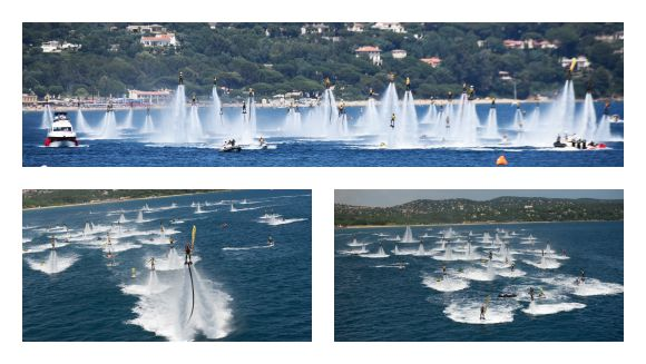Video: Watch incredible water jet pack flight formation world record attempt