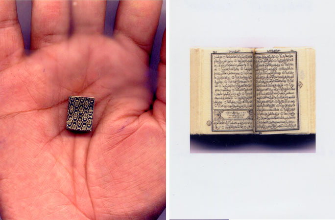 a man holding the smallest Quran