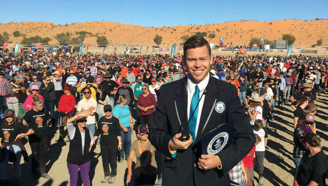Record for largest nutbush dance broken at music festival in remote Australian town