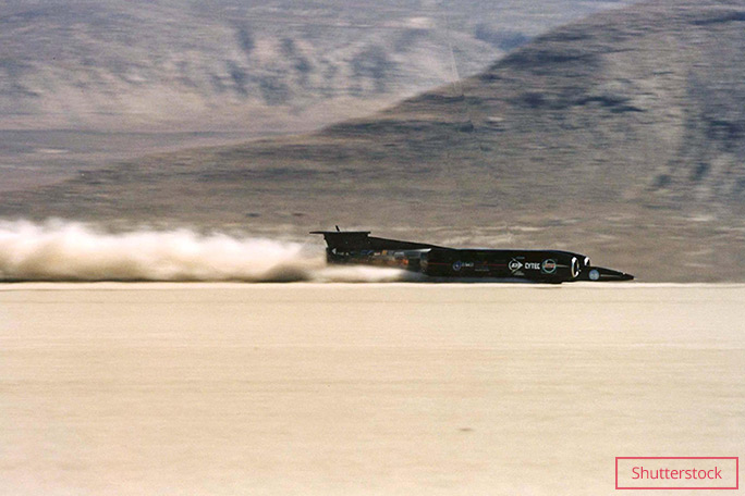 Andy Green pilots Thrust SSC across the Black Rock desert
