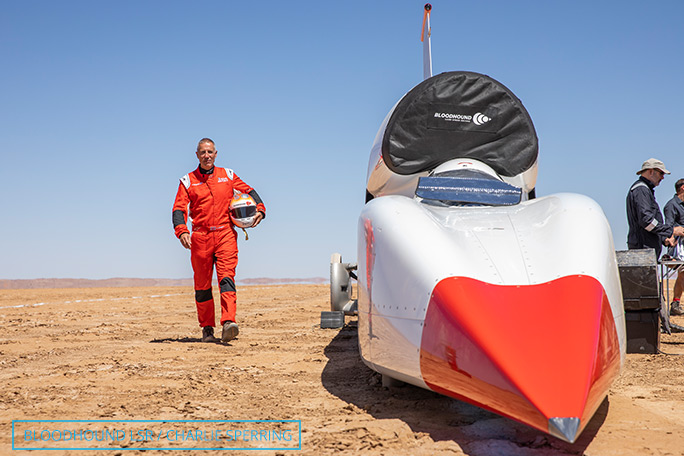 Andy Green with the Bloodhound SSC during speed trials in South Africa