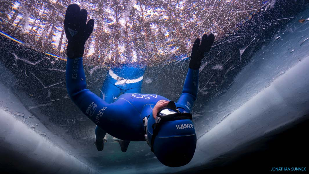 The deepest dive under ice – breath held (fins and diving suit) by male is 70.3 metres (230.643 ft) by Ant Williams