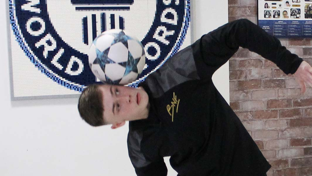 Football freestyler Ben Nuttall achieves yet another record at Guinness World Records HQ