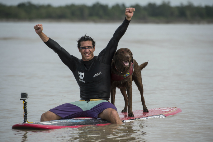 Longest Stand Up Paddleboard ride on a river bore by a human/dog pair 3