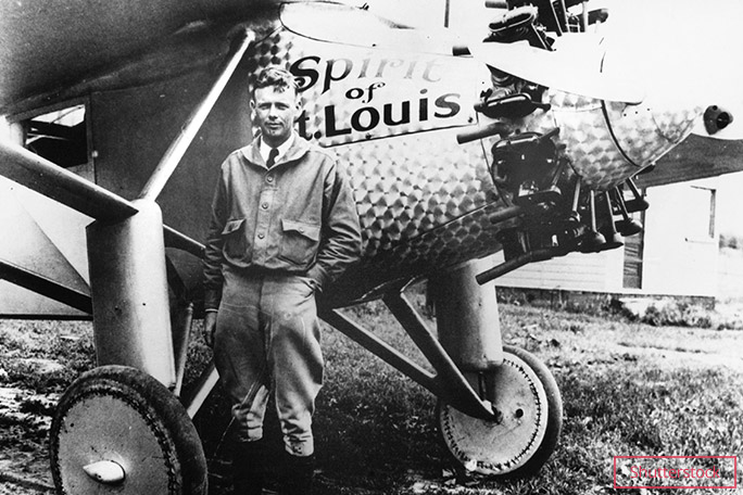 Aviator Charles Lindbergh was the inaugural TIME Person of the Year, here pictured with his plane, Spirit of St Louis