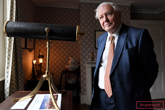 david attenborough with telescope shutterstock