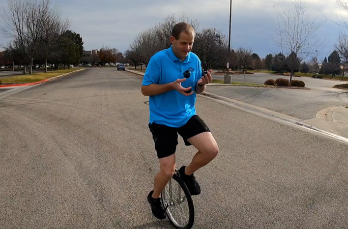 david rush unicycle juggling