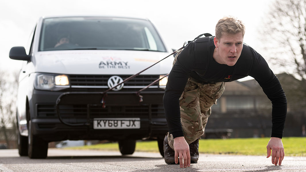 British Army troops pull van almost 50 miles to raise money for charity