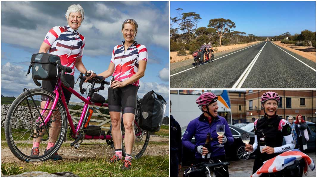 fastest circumnavigation by tandem bicycle collage standing by bike cycling in australia and celebrating with prosecco