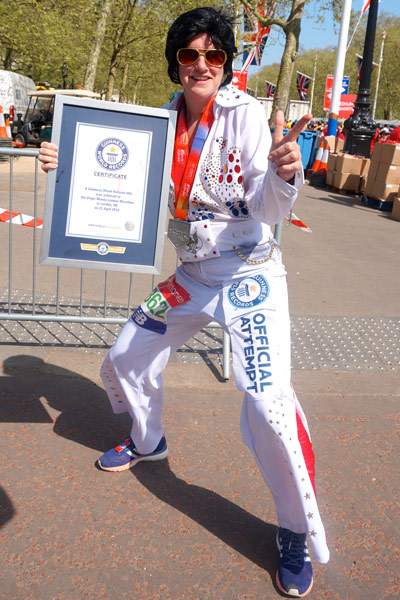 The fastest marathon dressed as Elvis (female) is 3 hours 53 minutes 56 seconds by Stacey Harper at the 2018 London Marathon