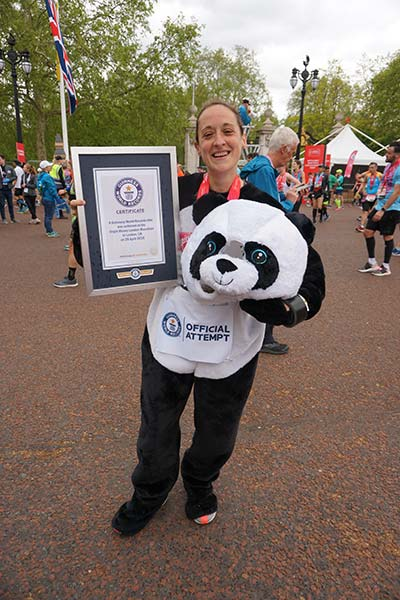 Kate Carter, fastest marathon as a full animal costume (female)