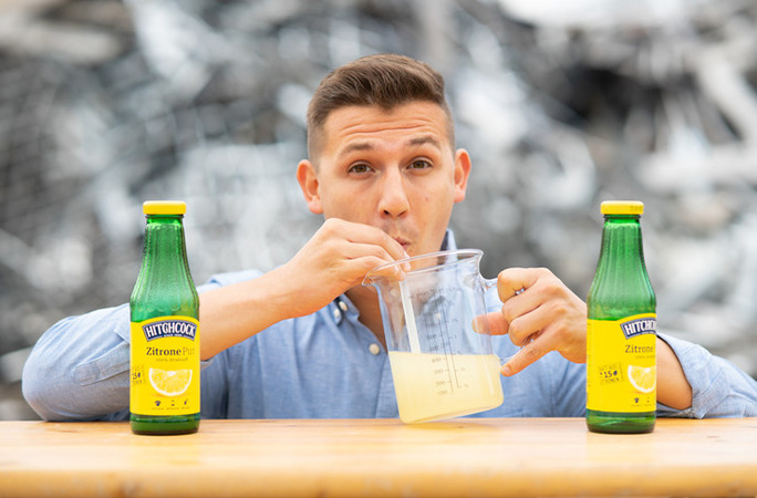 fastest time to drink a litre of lemon juice through a straw