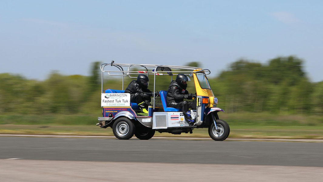 Watch the world's fastest tuk-tuk reach its record-breaking 119 km/h
