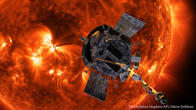 Render of the Parker Solar Probe passing in front of the sun