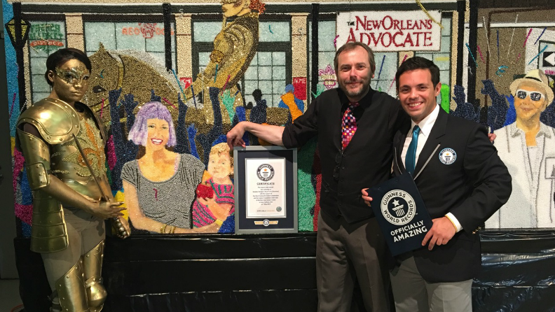 Artist and local New Orleans community take back the record for largest bead mosaic