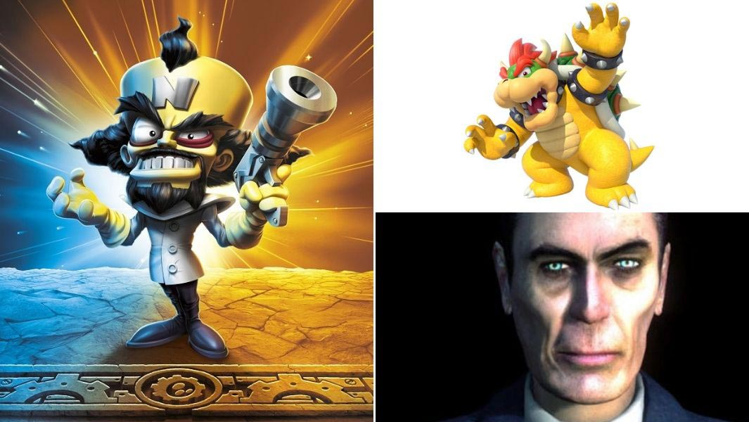 Gaming villains including Dr Neo Cortex, Bowser and G-Man