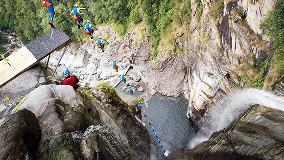 In Pictures: Laso Schaller completes the highest cliff jump ever attempted