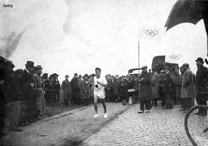 At the Antwerp 1920 Olympics, Kanakuri came in 16th in the marathon event, with a time of 2:48:45.4
